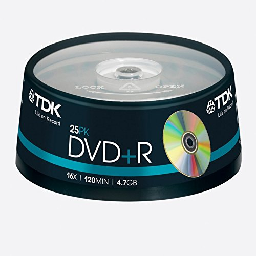 TDK DVD+R 4.7GB/120Min/16x Cakebox (25 Disc)