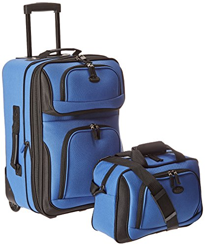 U.S. Traveler Rio Rugged Fabric Expandable Carry-On Luggage Set, Royal Blue, 2-Piece Set