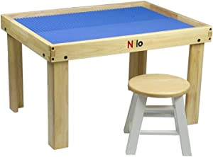 Kids Play Table Set with 2 Compatible Lego Duplo Detachable Two-Sided Baseplates/Boards/Mats by NILO (N34 Activity Table w/Holes, 24x32x20 and 2X Blue Base Plates 12x32)