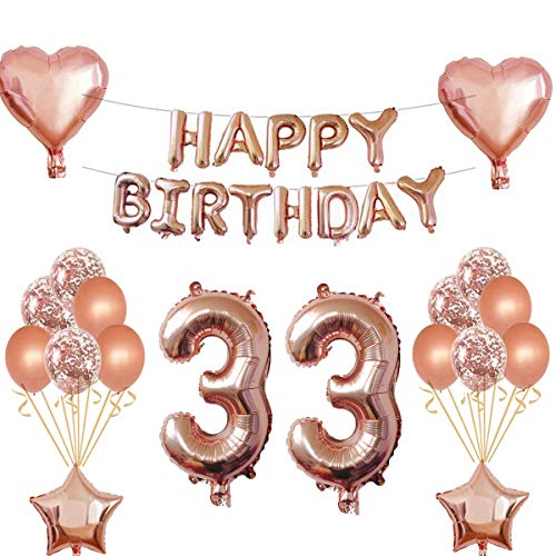 Oumezon Décoration d'anniversaire 33 ans pour fille - Or rose - Décoration d'anniversaire pour fille et garçon - Guirlande de ballons - Ballons gonflables