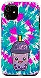iPhone 11 Colorful Tie Dye Trendy Japanese Bubble Boba Milk Tea Love Case