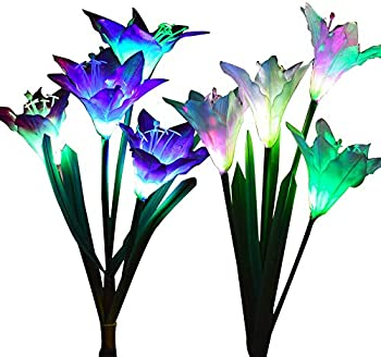 2-Pack Wohome Outdoor Solar Garden Stake Lights with 8 Lily Flower