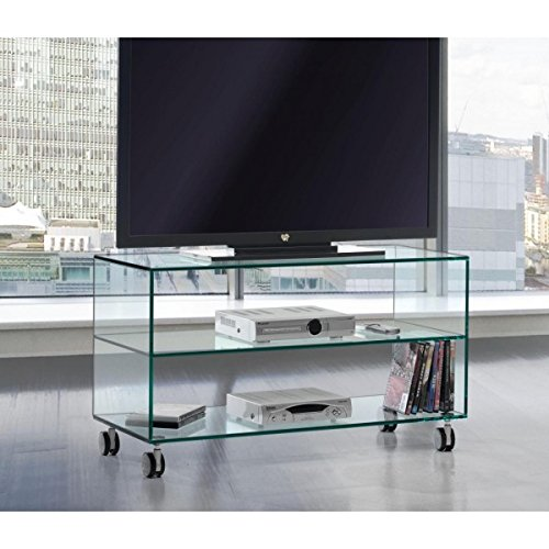 Crespo Decoración Mesa TV Tres estantes.Vidrio Transparente de ...