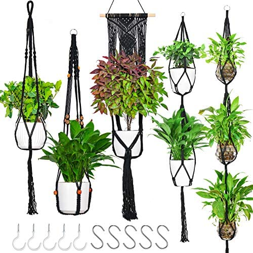 5 Pack Macrame Plant Hangers Hanging Plant Holder with 10 Hooks Handmade Cotton Hanging Planter product image