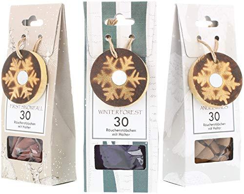 COM-FOUR® 90x wierookkaarsen in verschillende geuren - wierookkegels met kerstversiering (90 stuks - wierook kaarsen winter)