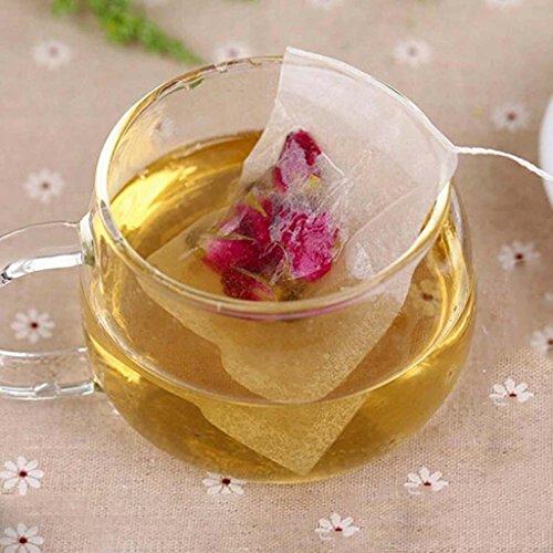 HuntGold Lot de 100 sachets de thé vides String Heat Seal Filter herbes feuilles de thé - 5,5 cm x 6 cm