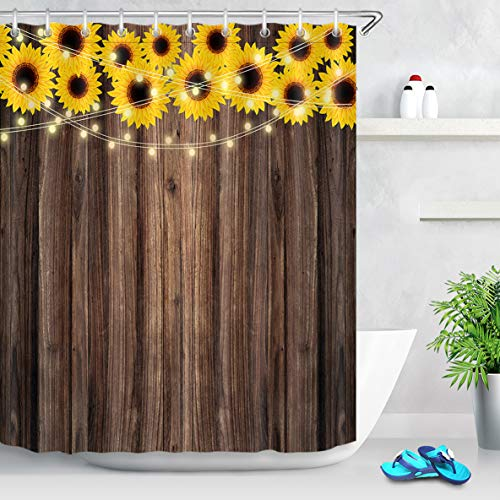 LB Fall Shower Curtain Rustic Wood Board Shower Curtains for Bathroom Farmhouse Sunflower Bathroom Curtain Set with Hooks,70x70 Inch