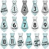 Mein Ji Monats-Etiketten für Baby-Make-up, Altersgruppe für 12 Monate Krawatte Monats-Etiketten für Babys, Grün, Grau, 16 Stück/Set