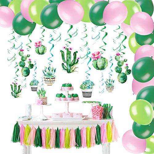 Easy Joy Kaktus Dekoration Party Succulent Folie Spiralen Deko Papier Tassels Girlande Pink Grün Geburtstag Dekorationen Set