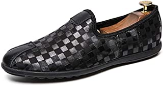 HaiNing Zheng Driving Loafers for Men Ankle Shoes Slip On Rhinestone Fabric Grid Pattern Cap Toe Lug Sole Super Flexible Classic Modern (Color : Black, Size : 7 UK)