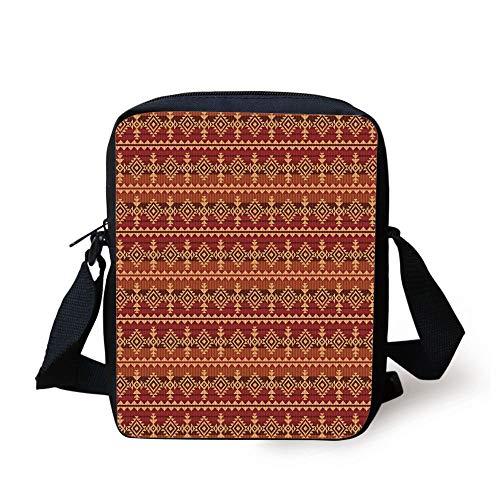 Mexican,Ancient Aztec Culture Theme Classical Triangles Pattern Primitive Ornaments Decorative,Pale Orange Brown Print Kids Crossbody Messenger Bag Purse