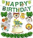 Jungle Safari Party Supplies,Jungle Animal Decorations, Safari Zoo Animals Happy Birthday Banner, Animal Balloons and Animal Cake Toppers for Jungle Safari Zoo Theme Birthday Party Decorations.