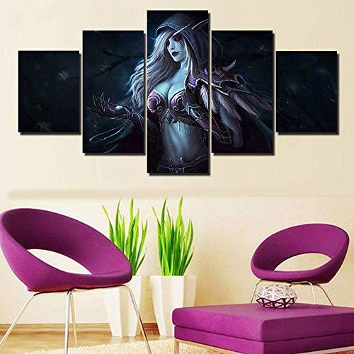 HIMFL HD-Druck 5 Panels World of Warcraft Sylvanas Windläufer Bilder Poster Gemälde Leinwand Wandkunst für Zuhause Dekorationen,A,30×50×2+30×70×2+30×80×1