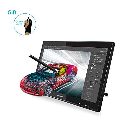 HUION Pen Display für Profis Grafikmonitor 2048 Stufen Druckempfindlichkeit 5080 LPI- Grafiktablett Zeichnung Pen Monitor GT-190 w/Handschuh und Zusätzlicher Freier Stift