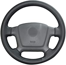 GXDHOME Car Steering Wheel Cover, Hand-Stitched Black Genuine Leather Anti-Slip Car Steering Wheel Cover for Kia Cerato 2005-2012 Spectra Spectra5 2004-2009 (Color : Black Thread)