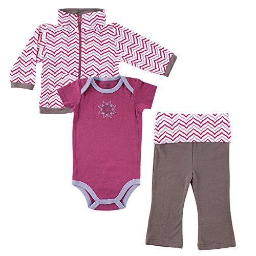 Yoga Sprout Infant 3 Piece Jacket, Top and Pant Set, Girl Lotus, 12-18 Months