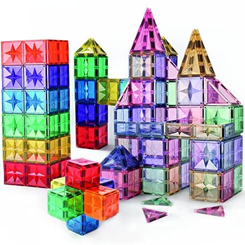 Star Design Magnetic Tiles for Kids, Educational 3D Magnet Building Blocks Set, STEM Preschool Toys for Children Creative Toy Magnets in Various Tile Shapes, Inspirational Learning Best Gift 3-8