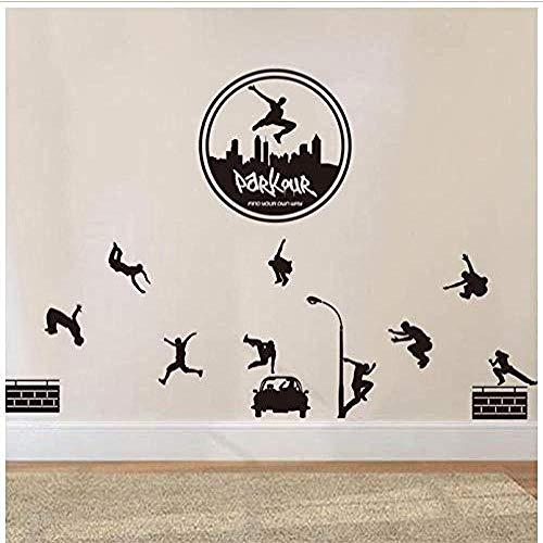 Wandaufkleber Urban Style Jumping Skateboard Weihnachtsaufkleber PVC Vinyl Wohnzimmer Schlafzimmer Hauptfenster Badezimmer Büro Schlafsaal Store Dekoration 67x56cm