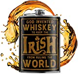 Irish Rule the World - Vintage 8oz Flasks For Liquor For Men - Stainless Steel Flask For Women - St Patrick's Day Gifts - Whiskey Flask - Alcohol Flask - Funny Flask - Hip Flask - Trixie and Milo