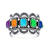 Bling Jewelry Southwestern Style Turquoise Coral Lapis Scalloped 925 Silver Ring SIZE 5
