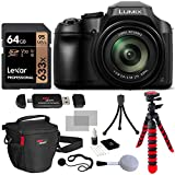 Panasonic FZ80 Lumix 4K Long Zoom Camera, 18.1 MP, F2.8-5.9, Power O.I.S with 3' LCD + Lexar 64GB + Camera Bag + Tripod and DC-FZ80K Accessory Bundle