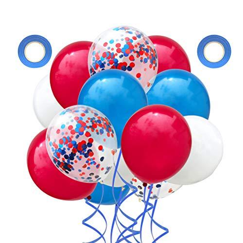 NUOBESTY Globos de látex de 12 pulgadas, globos rojos y azules de fiesta, 32 piezas