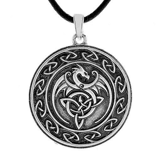 QIANJI Celtic Dragon Pendant Necklace Cletic Knot Wolf Necklace Women Men Vintage