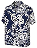 Pacific Legend Tribal Tattoo Designs Men's Aloha Shirt 410-3984-Navy-3XL