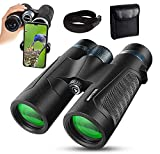 12x42 Binoculars for Adults with Phone Adapter - 20mm Large View Eyepiece & Super Bright IPX7 Nitrogen Waterproof Roof BAK4 Prism FMC Lens Binoculars for Bird Watching Hunting Sports Travel Concerts