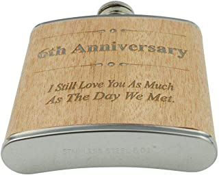 6th Anniversary Hip Flask 6 Year Anniversary Gift For Him