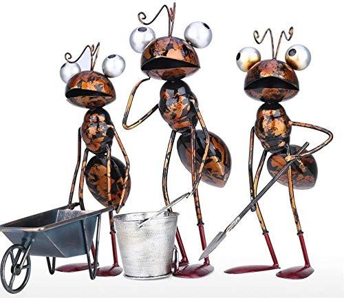 ZHIFENGLIU Gartendekoration Ameisenskulptur Eisen Cartoon mit abnehmbarem Eimer Gartenzubehör Schreibtisch Dekor Sukkulenter Blumentopf
