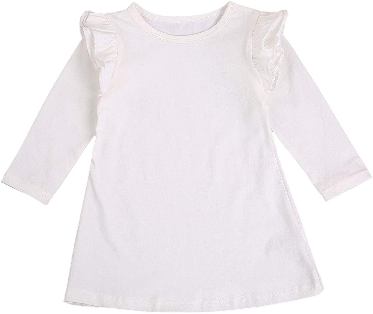 Seyurigaoka Girls ' Organic Cotton Long-Sleeve Dresses, Toddler Baby Girl Basic Plain Ruffle Shirt Tunic Dess 1 Piece Outfits