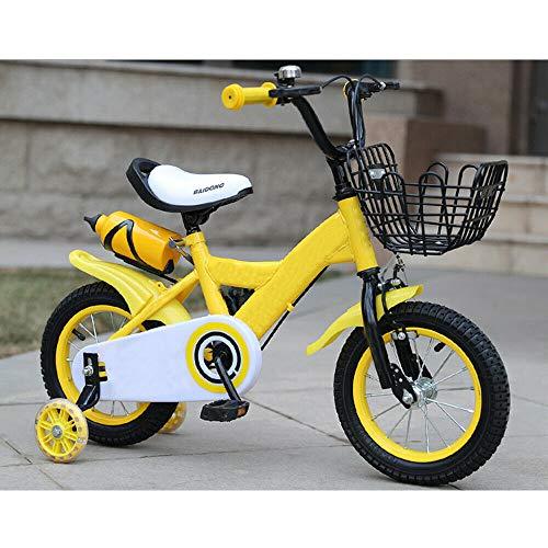 Bici per bambini, 12 pollici, bicicletta per bambini, bici da ragazzo, con ruote di sostegno (giallo)