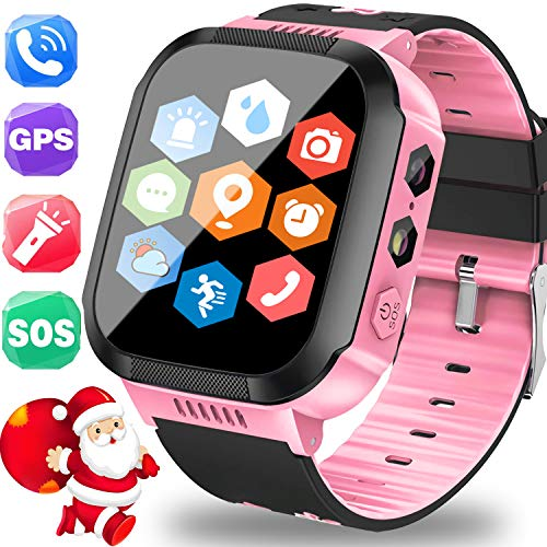 TURNMEON Kids Smartwatch GPS Tracker with SIM Card - Holiday Electronic Toy Gift Cell Phone Smart Watch for Kids Boys Girls Fitness Tracker - Watch Phone Call SOS Anti-Lost Game Wrist Watch Bracelet