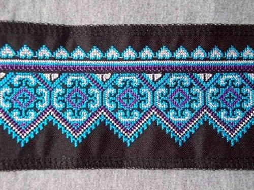 Miao Stitch Gehaakte Katoen Stof kant Trim 9cm Jurk Kraag Lint Webbing Etnische Tribal Nepal Thaise India Boho DIY Gypsy black as photo