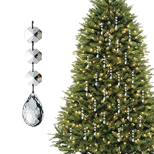 HOHIYA Acrylic Crystal Christmas Ornament Drop Ball Tree Decorations(Clear,Pack of 30)