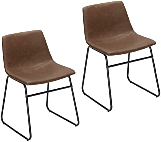 Furnirfun Set of 2 Vintage Modern Design Dining Chair, Brown PU Faux Leather Seat & Black Metal Base Chair for Dining Room, Living Room, Restaurant and Bedroom