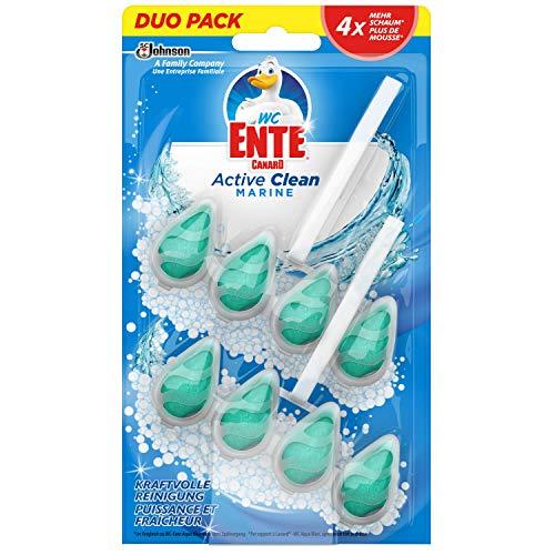 WC-Ente Active Clean WC Duftspüler-Einhänger Doppelpack, WC Reiniger, Marine-Duft, 8er Doppelpack (16 x 38,6ml)