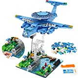 HOGOKIDS STEM Suspension Airplane Building Toys: 409PCS City Early Warning Fighter Plane Building Bricks Set Educational Creative Construction Blocks Air Police Plane Gifts Kits for Kids Age 6-12