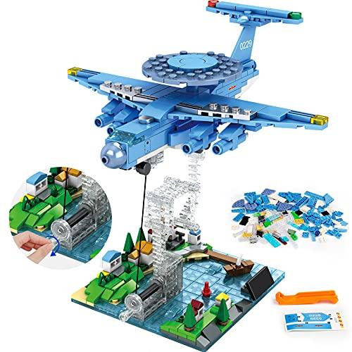 HOGOKIDS Schwebendes Flugzeug Bausteine Spielzeug: 409 Stücke City Frühwarnflugzeug Pädagogisch Kreative Bauziegel Konstruktionsspielzeug Geschenksets für Kinder Alter 5 6 7 8 9 10 12 Jahre alt