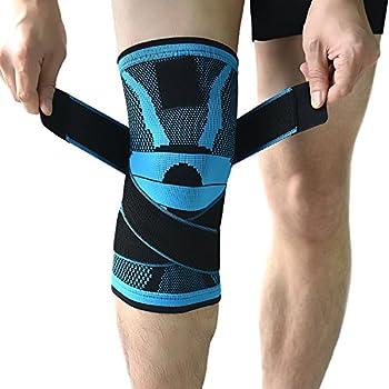 Conçue avec un motif de tissage en jacquard bleu populaire - Soutien pour genou exactement en place - Sangles de pression réglables garantissant que la rotule reste bien en place - Pas de glissement ou roulement vers le bas. Soulagement de la douleur...