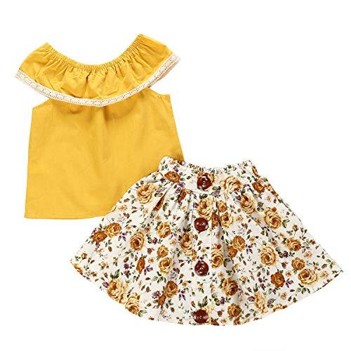 Borlai Modeoutfits Der Kleinen Mädchen Entsprechen Gelbem Hemd + Nettem Kleidungssatz des Blumenrockes