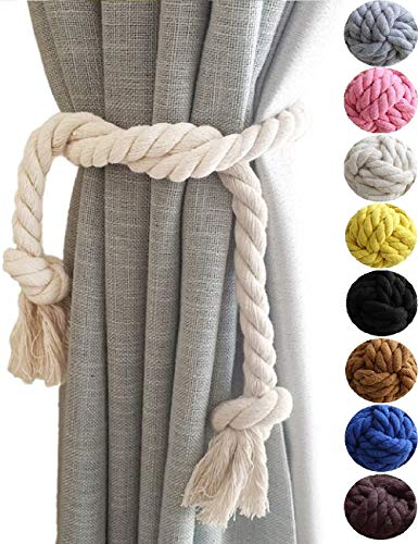 ASDFG Beige 2 Curtain Tiebacks- Simple Style Natural Cotton Rope Curtain Holdback, Curtain Decorative Holdbacks for Drapery Tieback, Handmade Cotton Rope (2, Beige)