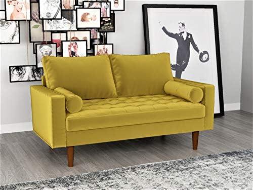 Best Container Furniture Direct S5459 Mid Century Modern Velvet Upholstered Tufted Living Room Loveseat,