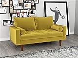 Container Furniture Direct S5459 Mid Century Modern Velvet Upholstered Tufted Living Room Loveseat, 57.87', Goldenrod