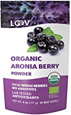 LOOV Organic Aronia Berry Powder, Not Made from Concentrate, Freeze Dried and Powdered Organic European Aronia Berries (Chokeberries), 15-Day Supply, 6 Ounces, Raw, no Added Sugar