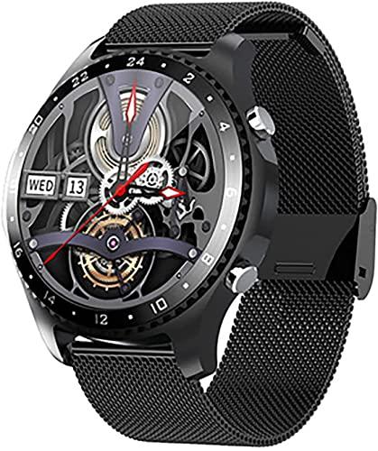 CNZZY Reloj inteligente Bluetooth para hombre, reloj deportivo con podómetro con ritmo cardíaco/monitoreo del sueño, monitor de presión arterial para iOS Android (B)
