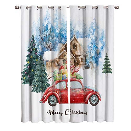 zpangg Cortina De Impresión Árbol De Navidad, Nieve, Escena 3D Cortinas Impresa 2 Paneles para Sala De Estar...