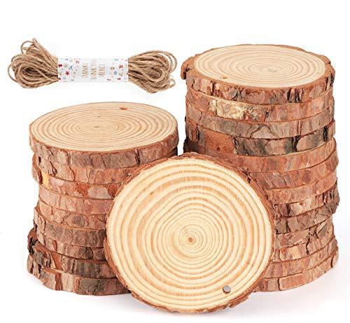 ilauke Holzscheiben 30 Stücke Holz Log Scheiben 8-9cm mit Loch und 10 mt Jute Seil Naturholzscheiben Holz Deko für DIY Handwerk Holz-Scheiben Hochzeit Mittelstücke Weihnachten Dekoration Baumscheibe