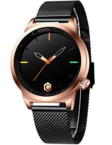 CIVO Reloj Hombres Acero Inoxidable Plata Minimalista Relojes Pulsera Hombre Impermeable Design Reloj para Hombres Analogico Cuarzo Sencillo Clásico Vestido de Negocios Casual Moda